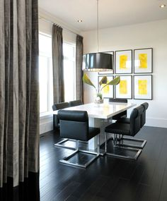 Black, White and Yellow High Rise Dining Room.