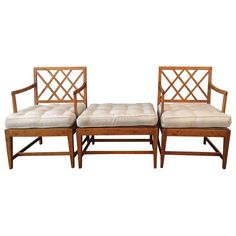 Pair of Armchairs and Ottoman by Carl Malmsten, Sweden circa 1920 | From a unique collection of antique and modern lounge chairs at https://www.1stdibs.com/furniture/seating/lounge-chairs/