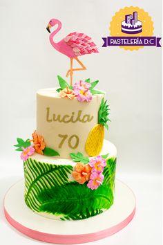 Luau Birthday Cakes, First Birthday Centerpieces, Luau Cakes, Birthday Cake For Mom, Trolls Birthday Party, Flamingo Cake, Flamingo Birthday, Aloha Cake, Mom Cake