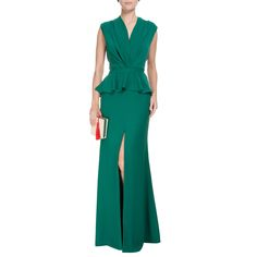 CANDY BROWN - Vestido longo Candy Brown fenda - verde - OQVestir