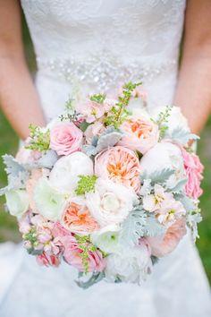 Pastel Bouquet // Blush Pink, Peach + White Coastal Charleston SC Wedding at The Island House // Dana Cubbage Weddings // Charleston SC Wedding Photography