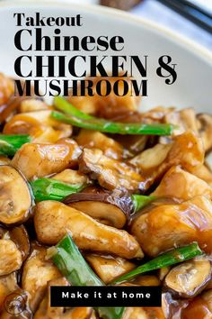 This classic Takeout Style Chinese Chicken and Mushrooms is so quick and easy to make at home you'll forget where you put the takeout menu. Delicious, quick and easy! The chicken is cooked over high heat with mushrooms and green onions, then finished in a Healthy Chinese Recipes, Healthy Recipes, Easy Chinese Chicken Recipes, Chinese Chicken Stir Fry, Chicken Stir Fry With Noodles, Chinese Meals, Chinese Desserts, Chicken And Broccoli Chinese, Chinese Rice Recipe