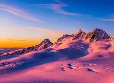 Sunset on the Fox Glacier Nevé, New Zealand. #splitboard #snowboard #winter #glacier #snow #ski