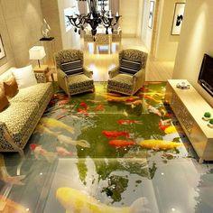 Custom 3D Floor Wallpaper 3D Super Real Chinese Wind Floor Painting Water PVC Self-adhesive Wall Sticker Wallpaper Waterproof