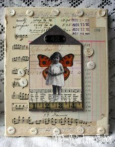 SWEET WINGS  8 x 10 inch Altered Mixed Media Art with collage images and mother of pearl buttons