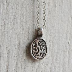 Sterling Silver Fever Few Botanical Necklace, Botanical Jewelry, Necklace, Bronze and Gold. Pendant, Flower Jewelry by Peg and Awl