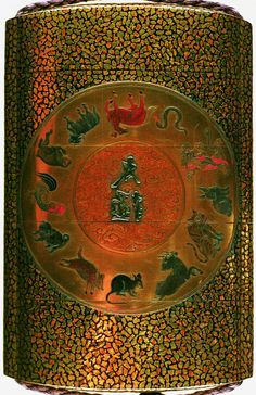 Inro (four case). Animals of the zodiac, characters Tai Kyoku and writing instruments and writing desk. Made of lacquered wood, gold. Made by: Tairyu. Japan. wood lacquer gold. British Museum.
