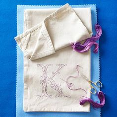 Monogrammed Tea Towel DIY - great idea! Sounds simple. Also has stitch diagrams for different types of embroidering stitches!