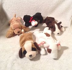 07eb57fa7ca NWT LOT of 5 TY Beanie Babies DOGS GIGI BERNIE BUTCH SPUNKY BRUNO RETIRED  Baby  Ty