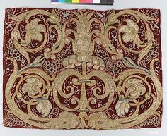 Golden tendrils against a red ground  Date: 16th century Culture: Italian or Spanish Medium: Silk and metal-wrapped thread on velvet Dimensions: Overall: 15 1/4 x 19 1/4 in. (38.7 x 48.9 cm) Classification: Textiles-Embroidered