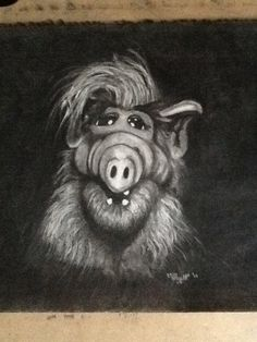 Charcoal drawing of Alf. One of my favorite characters growing up. Charcoal Drawing, Puppets, Lion Sculpture, Characters, Statue, My Favorite Things, Drawings, Artwork, Work Of Art
