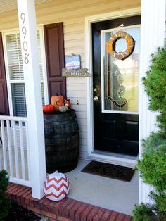 Fall porch. Whiskey barrel