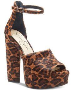 9d27e440c7db Jessica Simpson Elin Platform Pumps - Natural Leopard 7.5M Flip Flop  Sandals