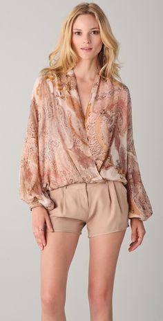Haute Hippie The Gypsy Top in Buff $395 with Haute Hippie Silk Shorts