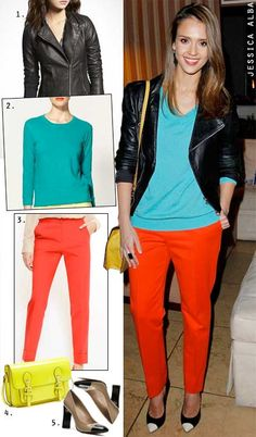 Jessica Alba's teal top and red pants -- The Budget Babe