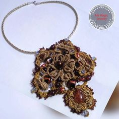The Vintage Gold Pendant/ Tatting Jewelry/ Antique Filigree