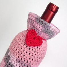 Bottle Sock Gift Bag Cozy Pink Marble Crimson Red Heart by Lilena, $17.00
