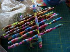 Fabric beads from an old t-shirt.