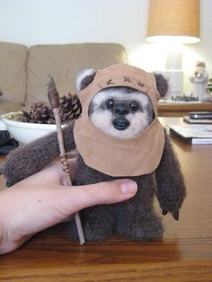 Ewok Plush Toy, handmade from scratch with wool, yarn, suede, and polymer clay