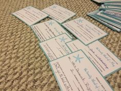 """""""Words of Wisdom"""" on our RSVP cards! So much fun. We highly recommend doing this. We couldn't wait to get our mail each day  open these!!"""