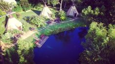 Aerial view of TeePees at Geronimo Creek Retreat