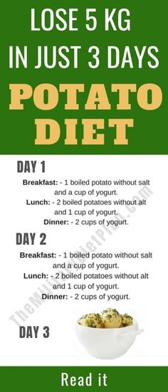 Potato Diet – You Can Lose Up to 5 Kg In 3 Days. The potato diet is a short-term eating plan days) designed to help improve weight loss, digestion and health. Essentially, one eats nothing but potatoes while on the diet. Weight Loss Meal Plan, Diet Plans To Lose Weight, How To Lose Weight Fast, Weight Gain, Losing Weight, Body Weight, Loose Weight, Reduce Weight, Potato Diet