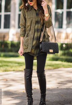 I don't like the color of this flannel with the green jacket, but I love the idea of a flannel and jacket together