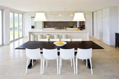 Best White Chairs With Dark Table Images On Pinterest Lunch - Dark wood dining table with white chairs