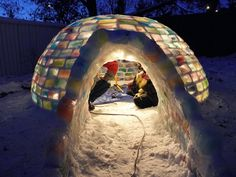Build a colorful ice igloo with milk cartons!!! It looks incredibly cozy. I want one!!! :D