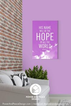 His name will be the hope of all the world Matthew 12:21 The beams of light shining from behind the clouds in this lavender religious wall art remind us to look heavenward for the source of our true hope: Jesus Christ. #hope #Matthew #Matthew12 #hopequote #Jesus #JesusChrist #lavenderdecor #purpledecor Lavender Decor, Lavender Walls, Scripture Wall Art, Bible Verse Art, Purple Art, Purple Walls, Purple Kids Rooms, Purple Furniture, Purple Home Decor