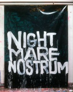 Hermann Josef Hack, NIGHT MARE NOSTRUM, 150430, painting and spray paint on tarpaulin, 327 x 251 cm, 2015