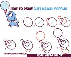 How to Draw Cute Kawaii Chibi Popplio from Pokemon Sun and Moon in Easy Step by Step Drawing Tutorial for Beginners