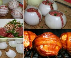 These BBQ Meatball Onion Bombs will wow all your guests! Meatloaf Balls are stuffed with mushrooms, onion and herbs then wrapped in more onion and bacon. They take just 10 minutes to put together.