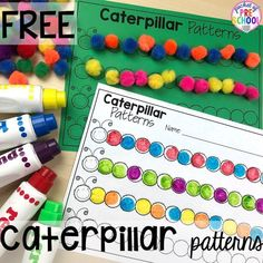 Pattern caterpillar FREEBIE! Bug themed activities and centers for preschool, and kindergarten (free