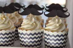 navy chevron mustache baby shower cupcakes by sweetthingsbyeh.com @silhouettepins