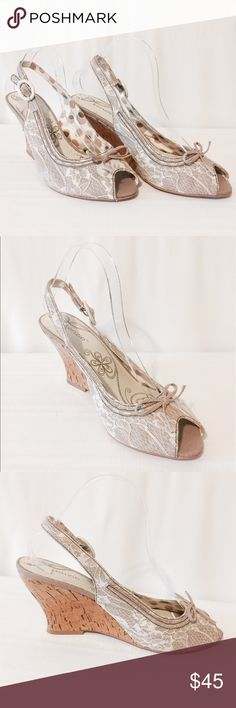 "🔆 Kenzio Cream Lace Wedges Lovely details! Cream lace with tan underneath peep toe wedges sling backs. Cork heels. All man made materials. 3 1/2"" heels kenzie Shoes Wedges"