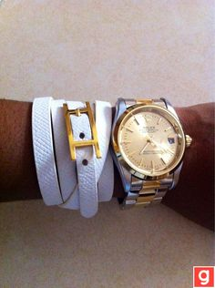 White leather Hermes and gold Oyster Rolex