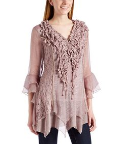 Another great find on #zulily! Mauve Lace Ruffle Silk-Blend Handkerchief Top #zulilyfinds