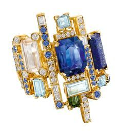 The Halcyon ring by Chow Tai Fook - in 18k yellow gold with aquamarines, lapis lazuli, sapphires and yellow diamond cubes.