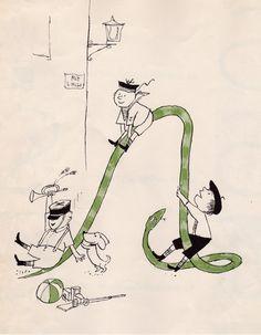 Tomi Ungerer.   Reminds me of the St Trinians illustrations!