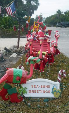Christmas in Florida - love the flamingos! Tropical Christmas, Beach Christmas, Office Christmas, Coastal Christmas, Christmas In July, Outdoor Christmas, All Things Christmas, Christmas In Florida, Christmas Flamingo