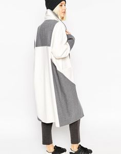 ASOS WHITE Colour Block Ovoid Coat in Heavy Wool