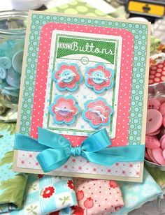 Fancy buttons card using Papertrey Ink stamps