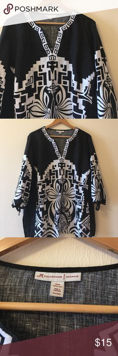 JM Collection tribal embroidered linen blouse 🎀 Great condition! The design on the split neck is embroidered in a gorgeous tribal design. Perfect for spring and summer! 👌 JM Collection Tops