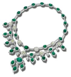 EMERALD AND DIAMOND NECKLACE. Of stylised bib design, set with cushion-shaped diamonds of yellowish tint and oval emeralds within brilliant-cut diamond borders, supporting a fringe of similar stones, mounted in white gold. Emerald Necklace, Emerald Jewelry, Gems Jewelry, High Jewelry, Stone Necklace, Gemstone Jewelry, Diamond Jewelry, Turquoise Necklace, Jewelry Necklaces