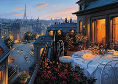 Paris Balcony – Jigsaw Puzzle By Ravensburger - Architektur Ravensburger Puzzle, Beautiful Places, Beautiful Pictures, Balkon Design, Belle Villa, Cross Paintings, Beautiful Paintings, Concept Art, Scenery