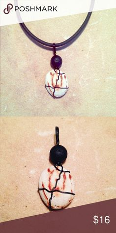 """Wire Wrapped Beach Stone Pendant Handcrafted Wire Wrapped Beach Stone Aroma Therapy Pendant. With 20"""" Stretch Cord Handmade Jewelry Necklaces"""