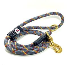 ULTRA TOUGH RECYCLED Rock Climbing Rope Dog Leash  Rock Dog Grey with Yellow and Red Stripes 4 Foot >>> Details can be found by clicking on the image.
