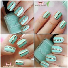blue studded nails