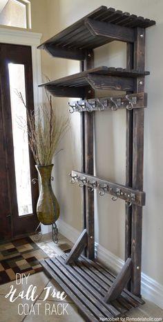 DIY Hall Tree Coat Rack (inspired by Pottery Barn)